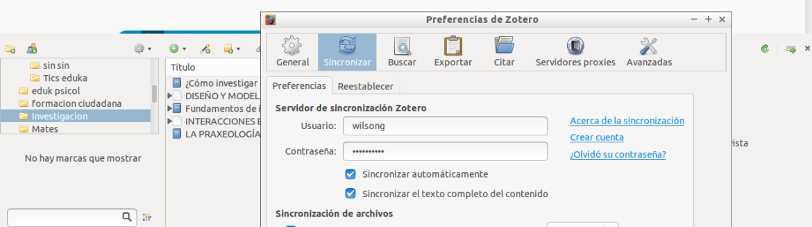 sincronizar zotero